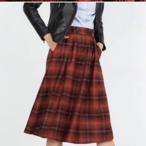 Zara Pleated Plaid Midi Skirt